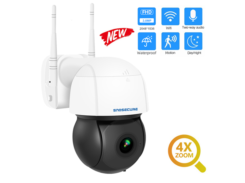 SNO 3MP PTZ 4X Zoom Wifi IP Camera Auto Tracking ONVIF Security CCTV Camera Audio AI Human Detection Outdoor Wireless Cam SNO-PT26W-30