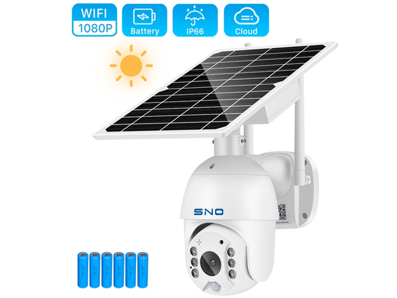 SNO Wifi Camera 1080P 8W Solar Panel PTZ Camera Outdoor 2MP PIR Human Alarm CCTV Security Camera with 15000MAH Battery Long Standby SNO-Q8S-20