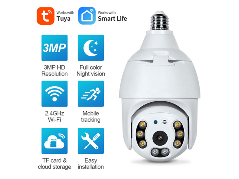SNO Smart Life E27 Bulb Tuya Wifi Camera 3MP PTZ Cam with Full Light Night Vision Two Way Talk Auto Tracking for Indoor