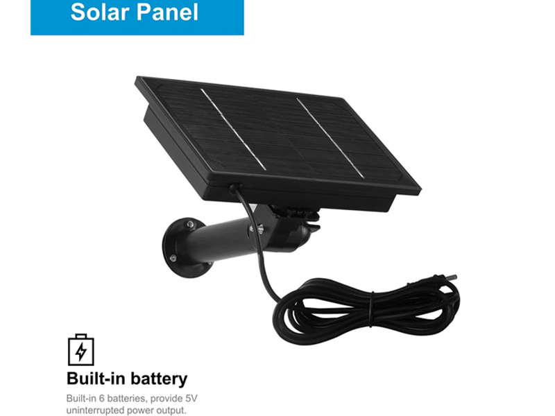SNO 8w Black Solar Panel 5V Powered IP Camera Built-in 18650 Battery Outdoor Waterproof Charged by USB For Security Camera Or Router