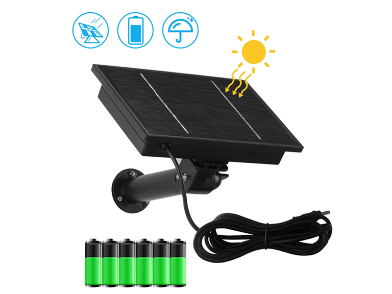 SNO Outdoor 4W Solar Panel 5V 2m High Efficiency Power Supply Security Camera Hunting Installation 6 Pcs 18650 Rechargeable Battery